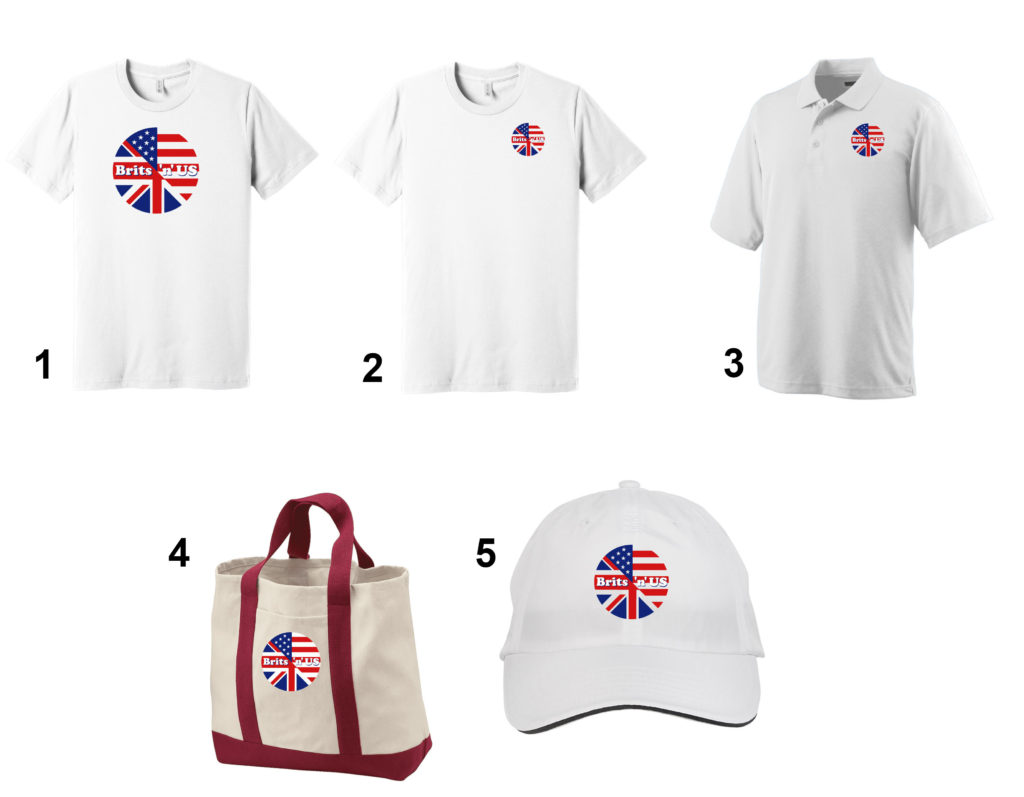 Numbered pictures of the five BritsnUS merchandise items listed below